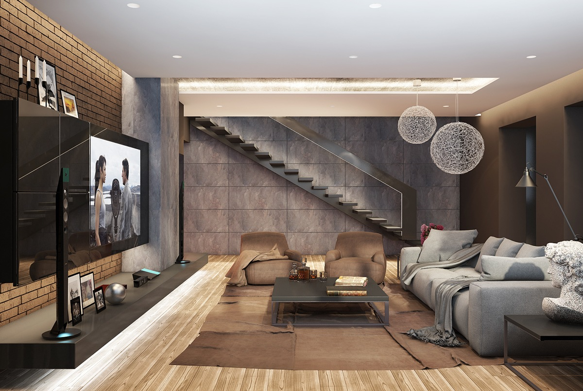 living room with dark brown color shades