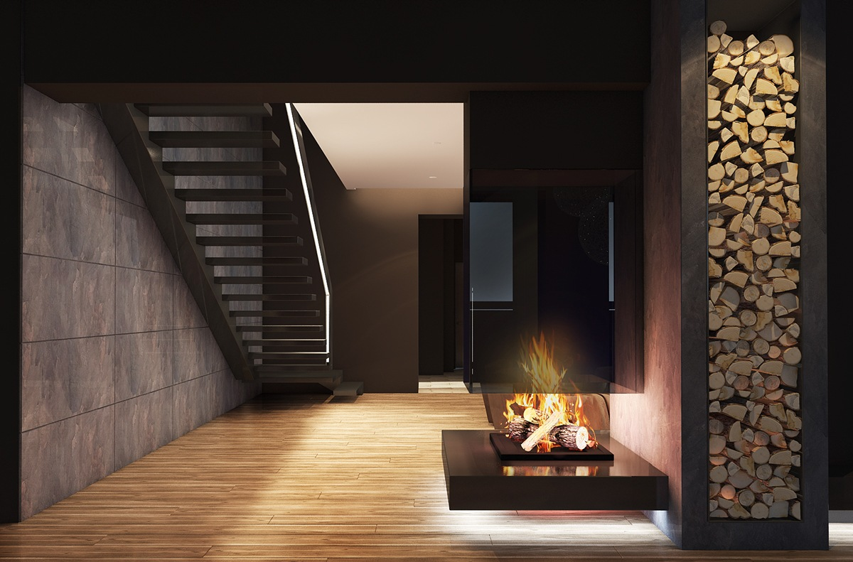 Dark brown color concept for the living room