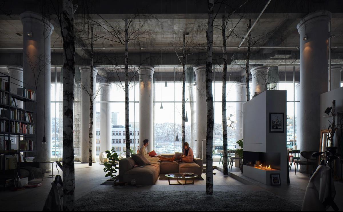 Dark living room interior style