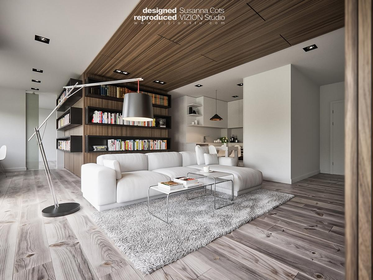 Modern living room concept with dark color shades
