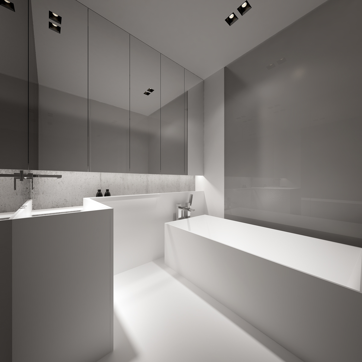 minimalist gray bathroom