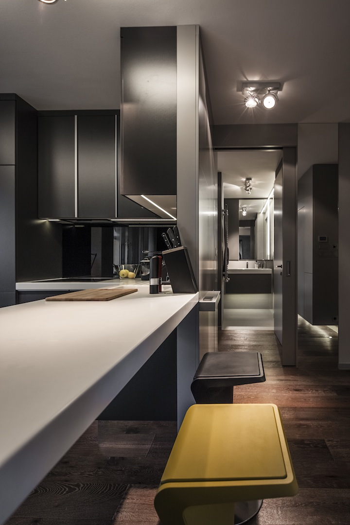 Apartment interior design with dark interior style