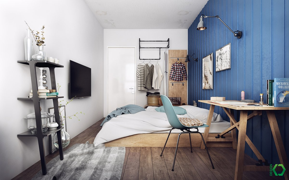 A charming nordic apartment interior design by koj design Industrial scandinavian bedroom