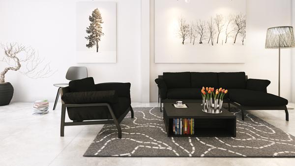 monochrome living room home designs