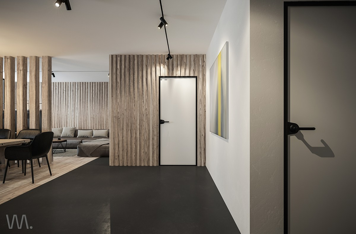 Small apartment design with wood decor
