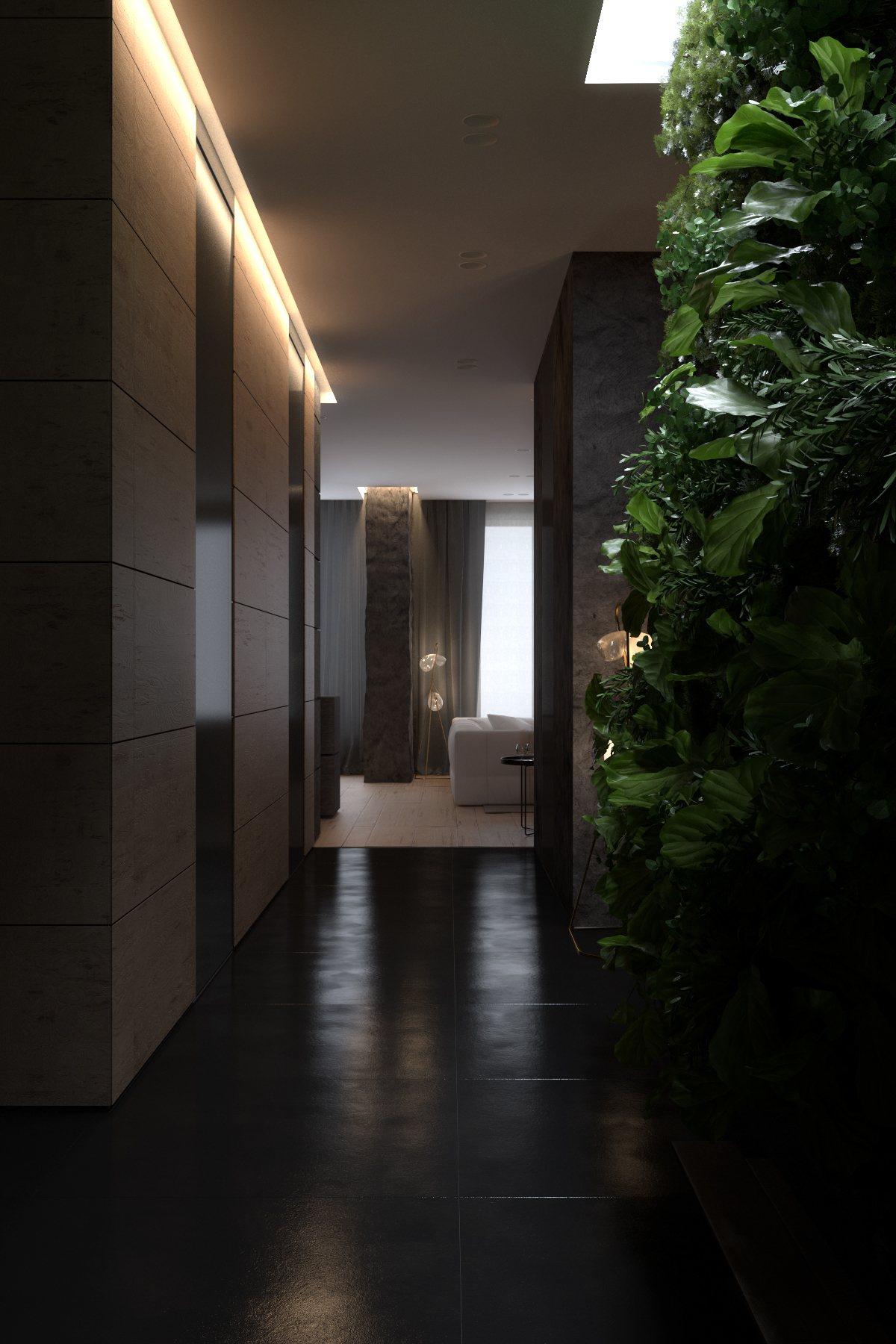 Hallway design with dark interior style