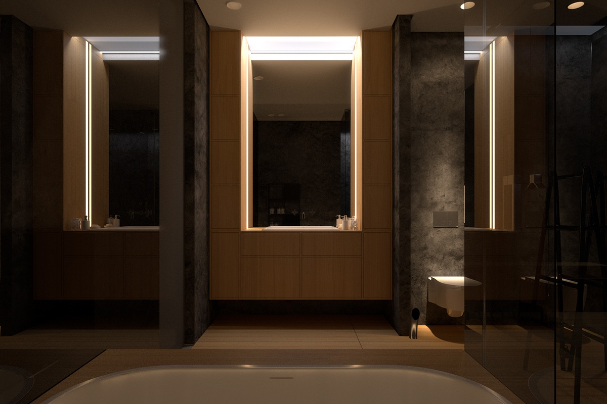 Luxurious apartment design with sexy dark interior style for Bathroom interior design styles