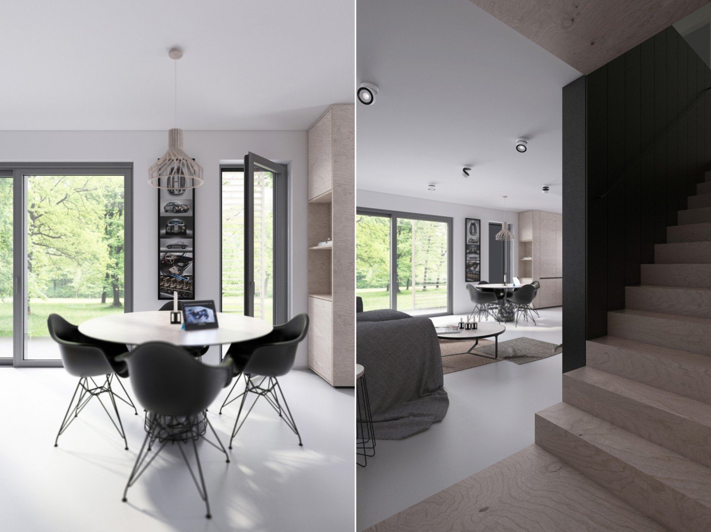 2 Open Plan Living And Dining Room Design With Sleek