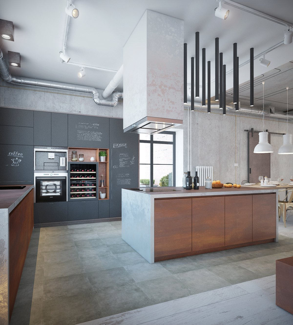 House Interior Design Kitchen: Industrial House Design And Decor For Stylish Appearance