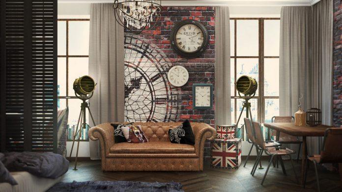 Industrial studio apartment design