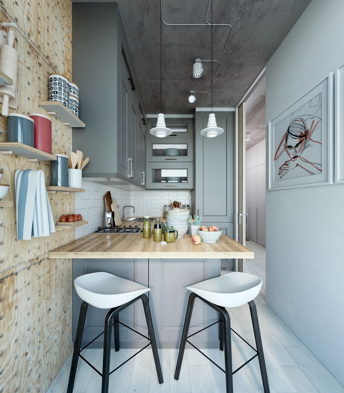 small kitchen interior design small apartment design with scandinavian style that looks charming roohome 6896