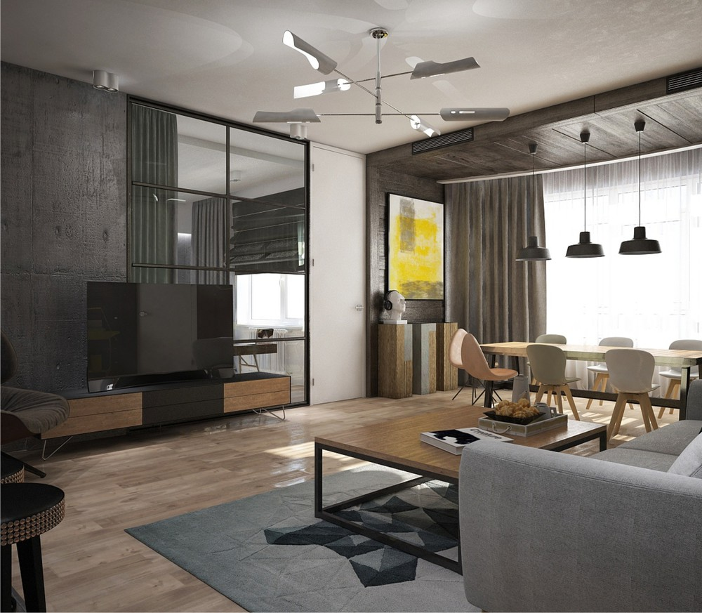 Awesome new york style apartment interior design with open for New york style interior