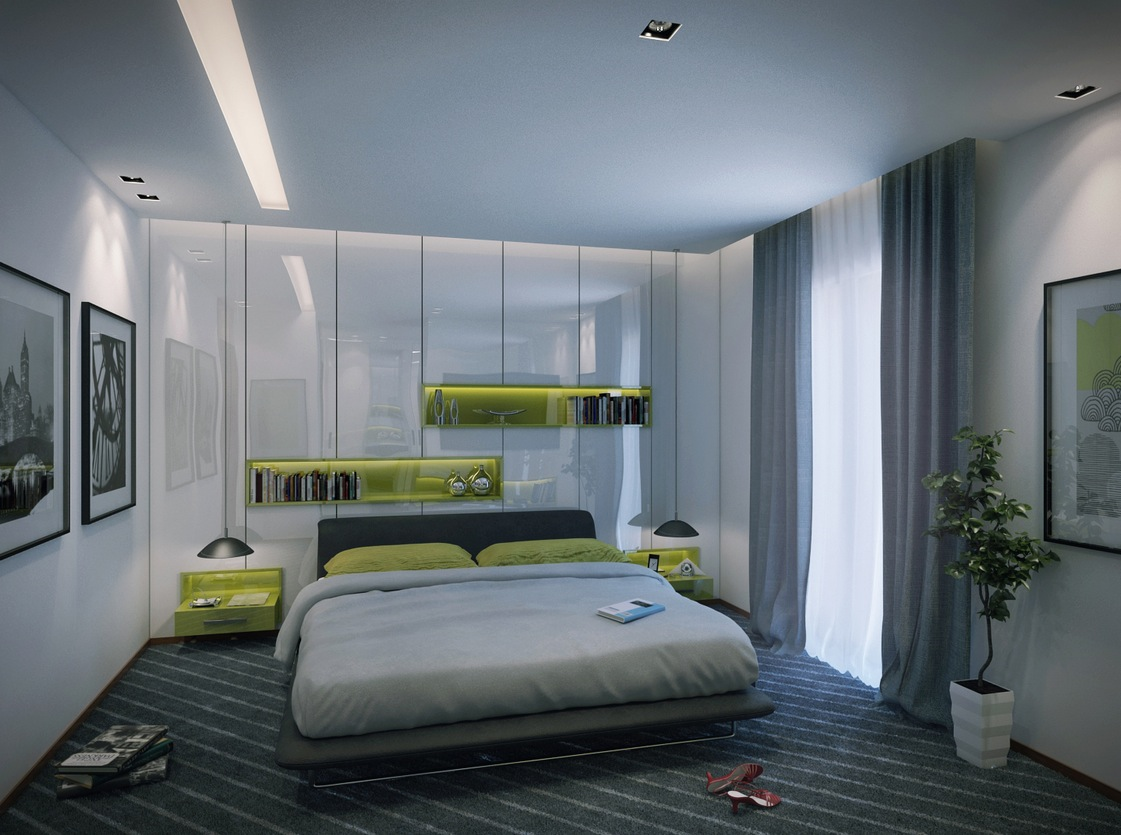 2 contemporary apartment design ideas by mahmoud keshta for Male apartment bedroom ideas