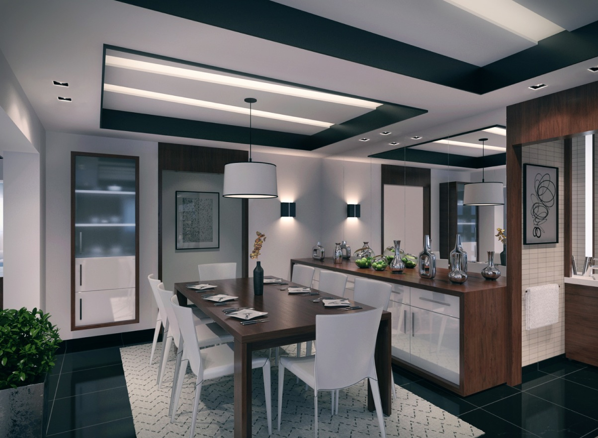 2 contemporary apartment design ideas by mahmoud keshta for Modern dining room 2016