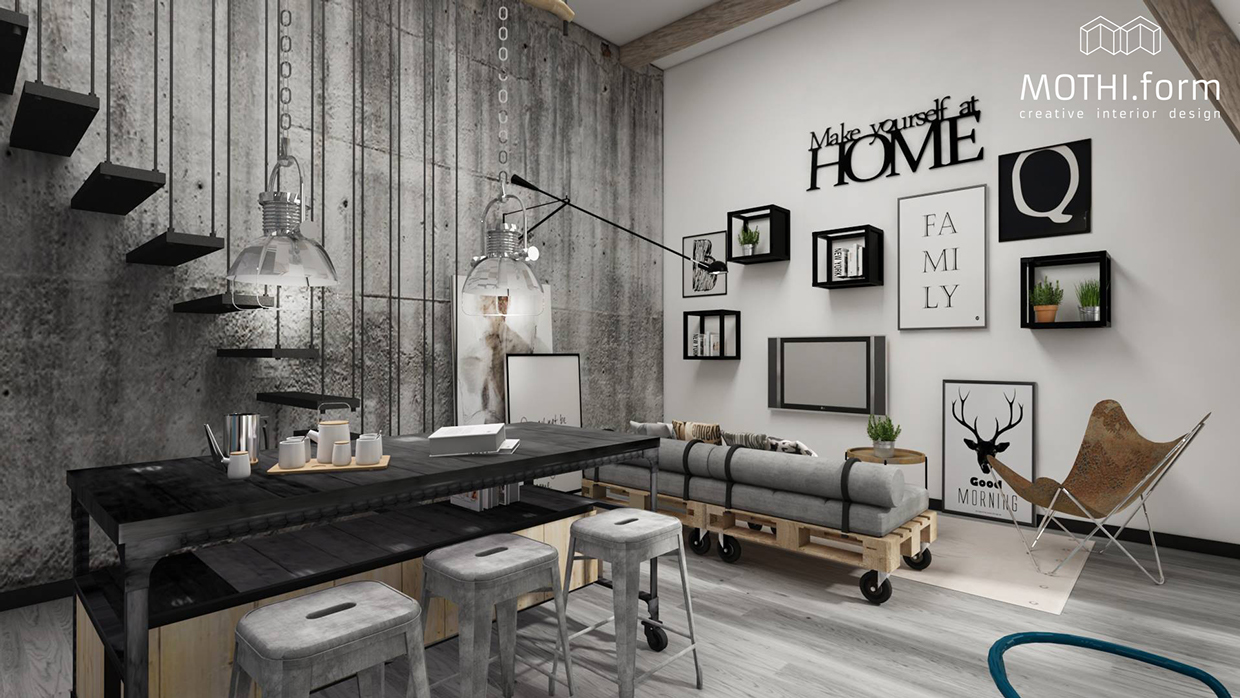 2 industrial apartment interior design that will inspiring for Interior design inspiration industrial