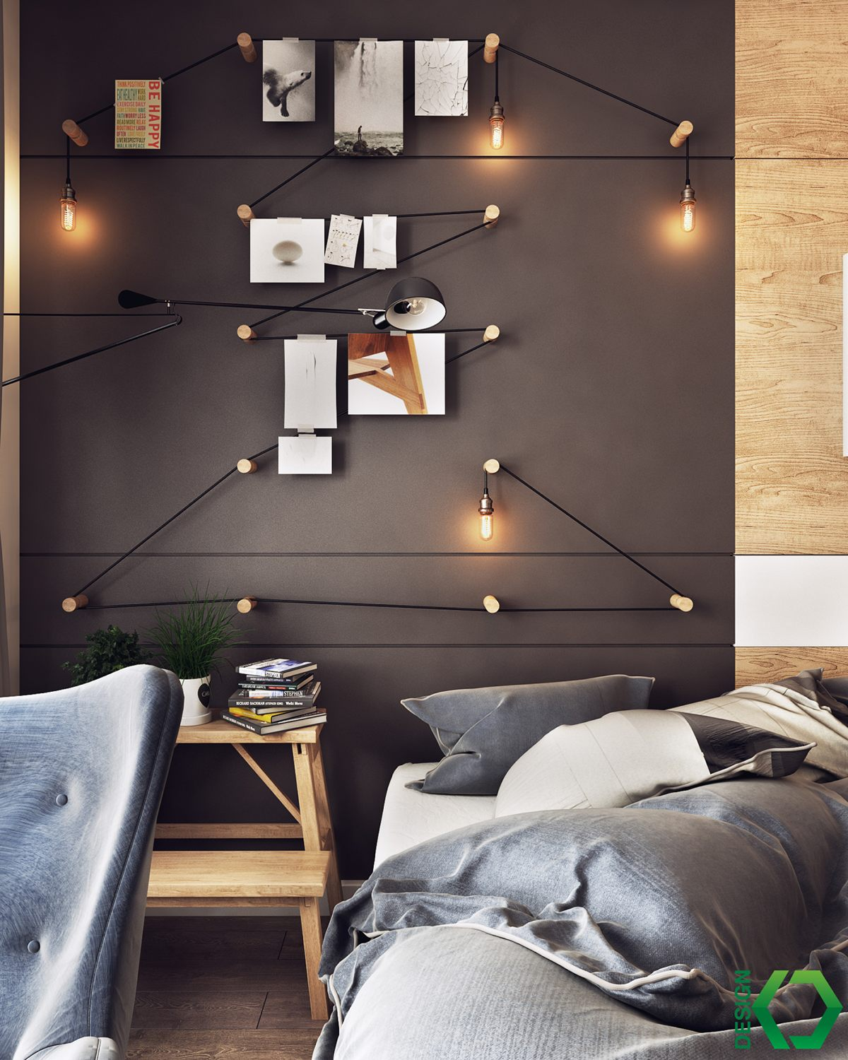 Koj Design Nordic bedroom theme. A Charming Nordic Apartment Interior Design by Koj Design
