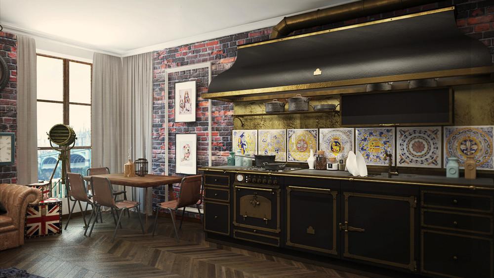 Industrial apartment interior design