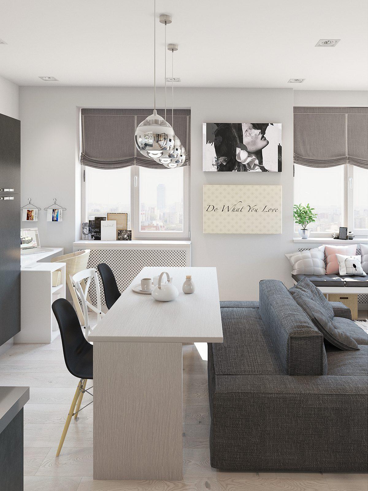 Studio apartment interior design with cute decorating for Creative studio apartment ideas