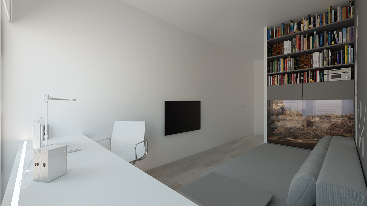Minimalist apartment with gray color paint