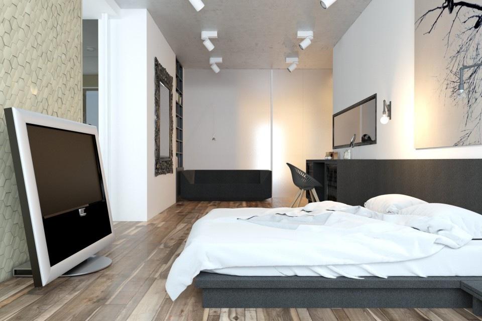 White bedroom design interior