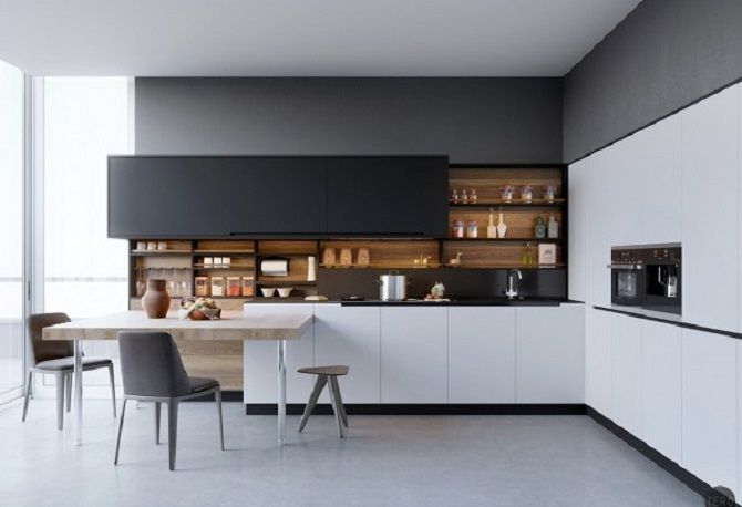 3 Minimalist Kitchen Design With Black, White & Wood Material Ideas ...