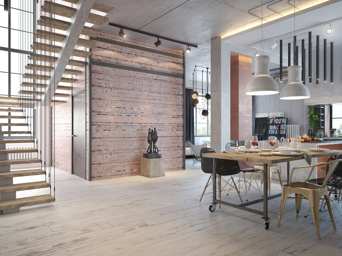 Industrial house design and decor for stylish appearance roohome designs plans - Industrial themed interior design ...