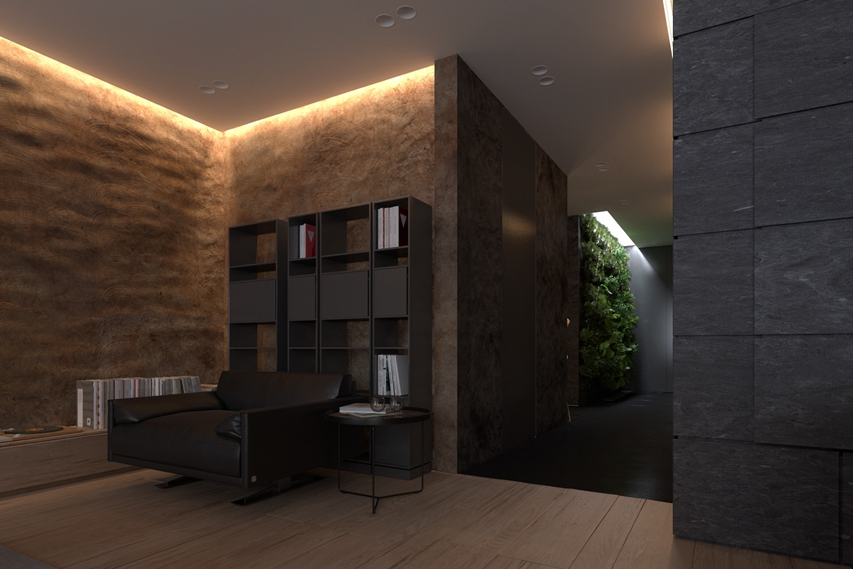 Luxury apartment design with dark interior style