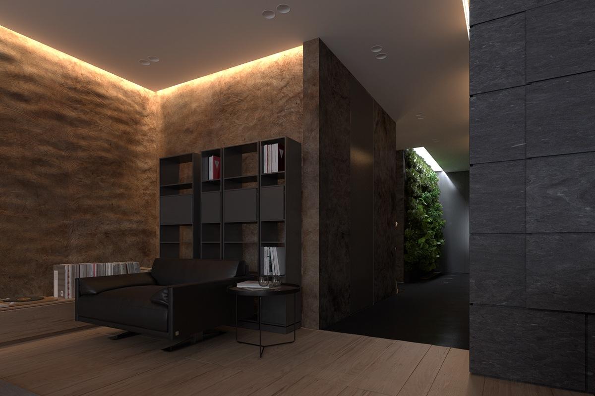 Luxury apartment design with dark interior style