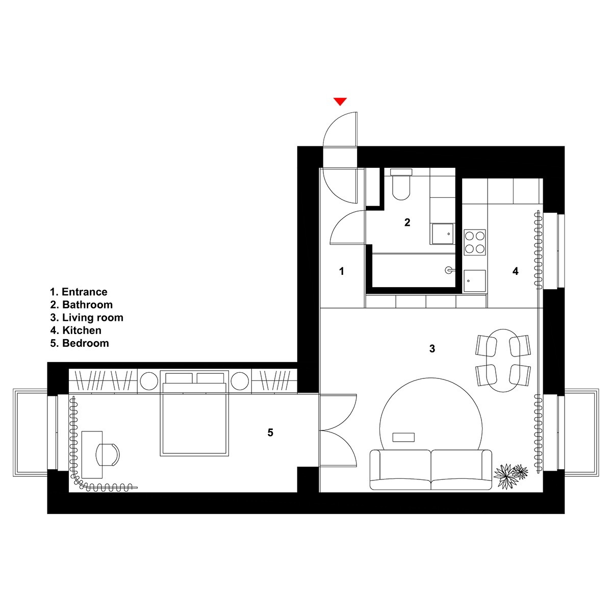 600 square feet apartment design plan