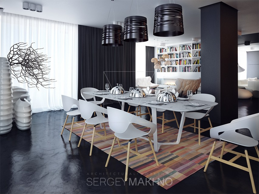 Dining room interior design with dark style