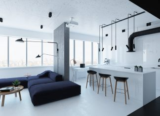 Black and white small apartment design ideas