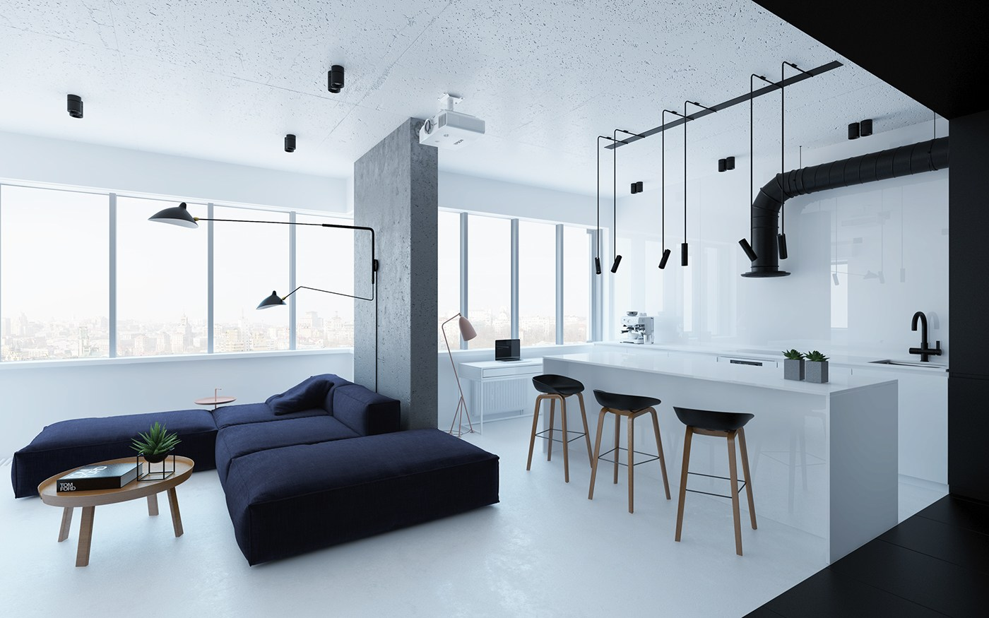 Black And White Small Apartment Design Ideas Roohome