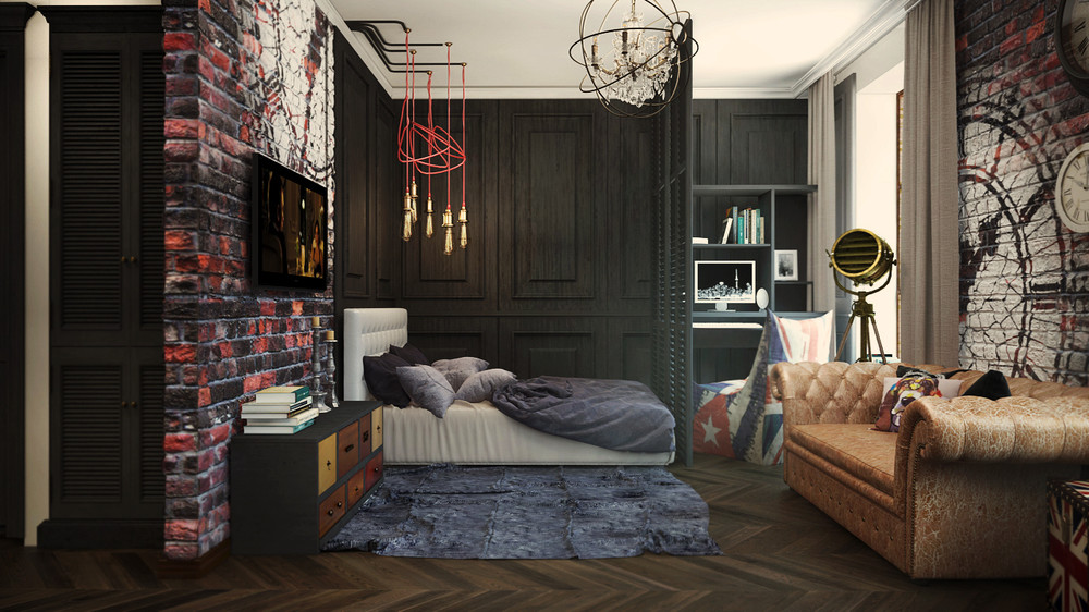 2 industrial apartment interior design that will inspiring you roohome. Black Bedroom Furniture Sets. Home Design Ideas