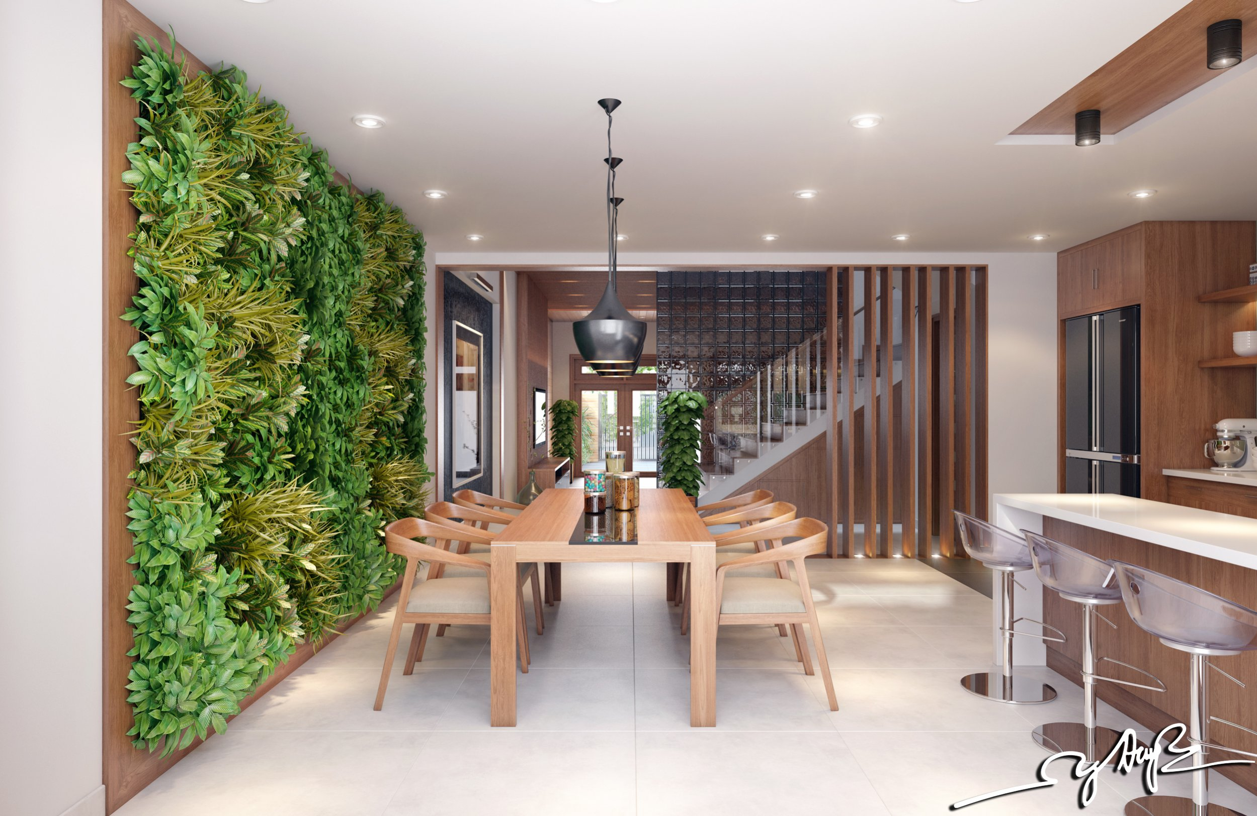Garden wall interior design