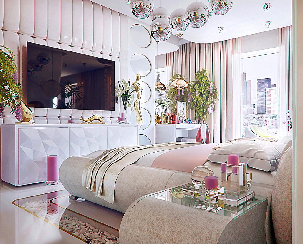 Pink bedroom interior design