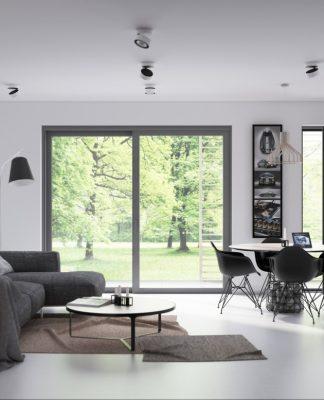 Open plan living and dining room design with sleek iinterior