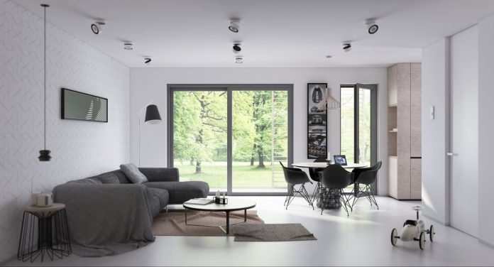 Open plan living and dining room design with sleek iinterior
