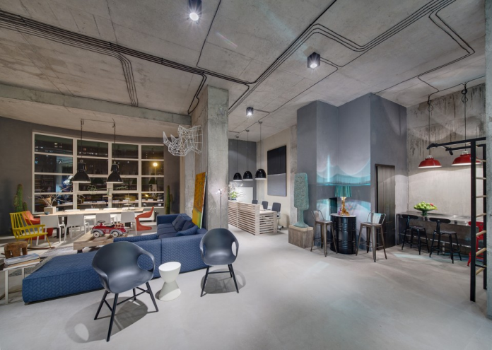 Industrial living room and creative home office design