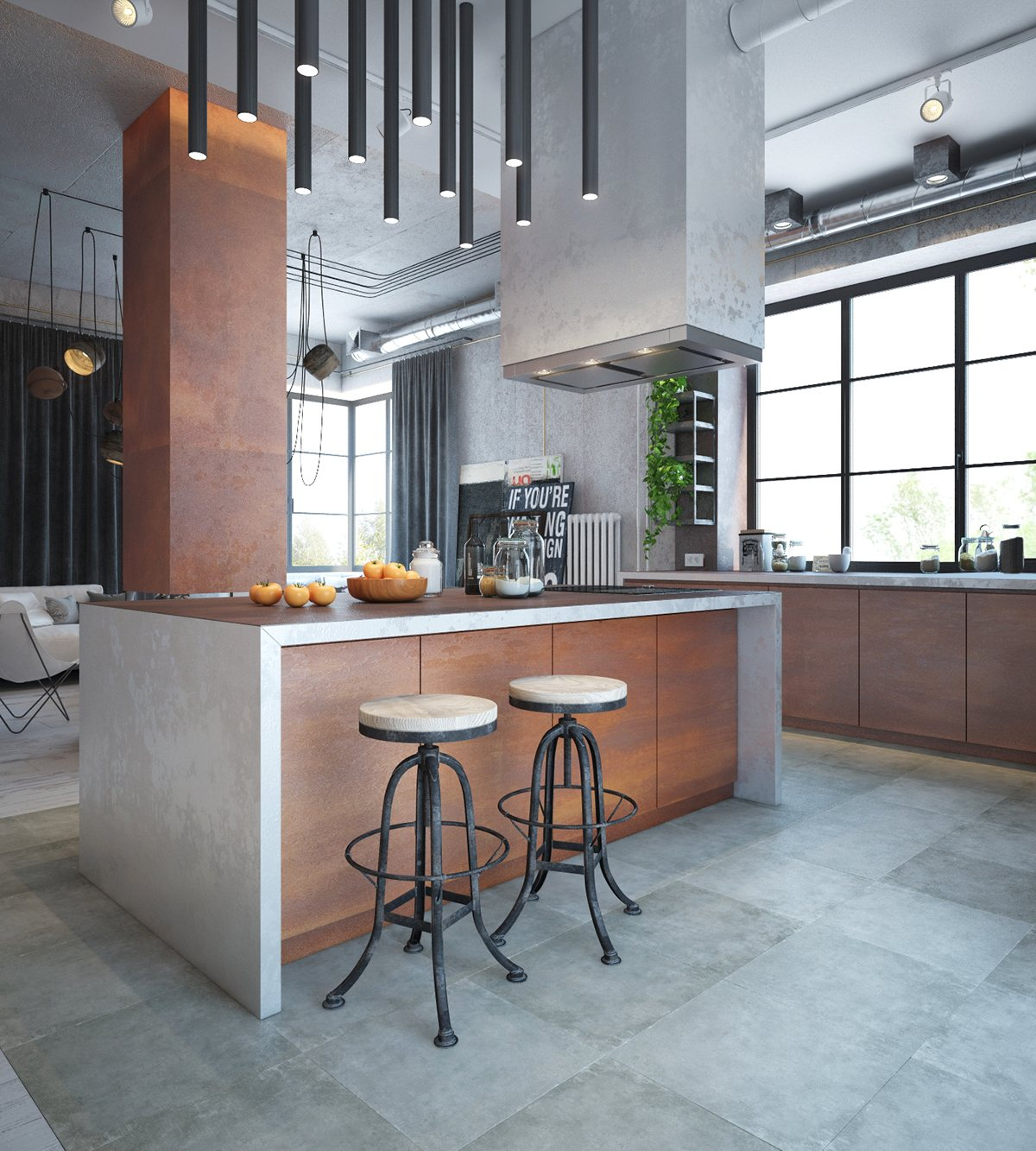 industrial kitchen design and decor