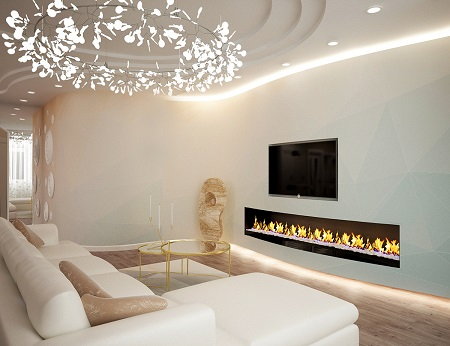 Living room design with pastel pattern