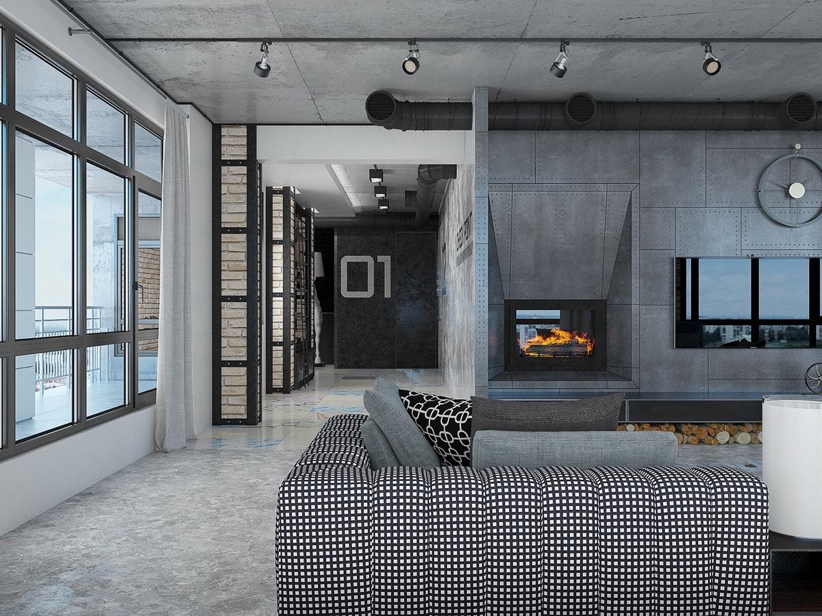 Industrial Loft Apartment Design Ideas With Elegant Dark Shades Roohome
