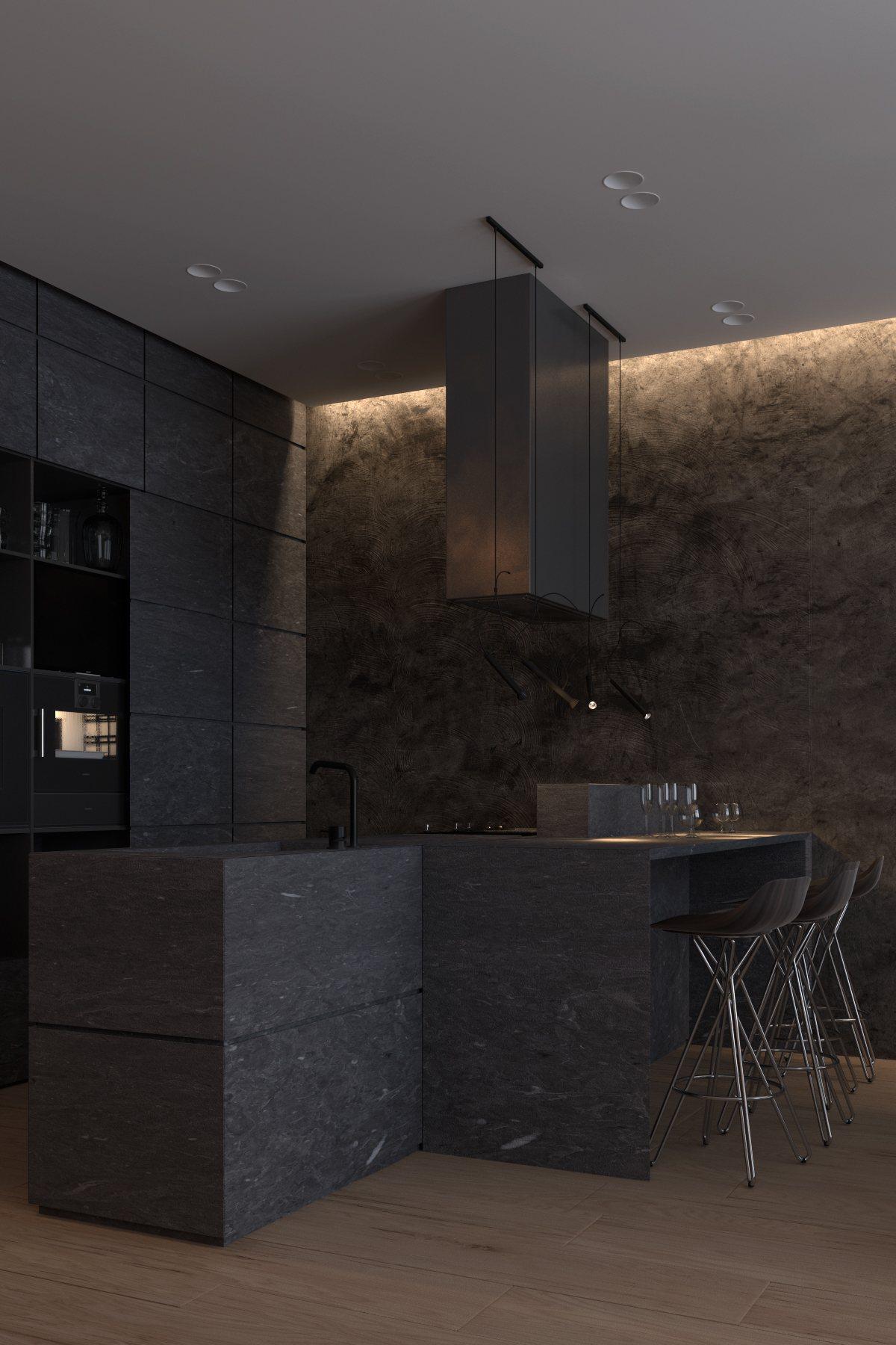 Dark kitchen interior design style