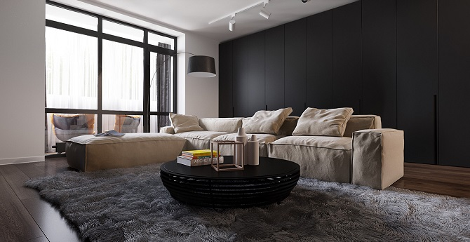 Minimalist apartment design by decorating with dark and for Minimalist apartment design