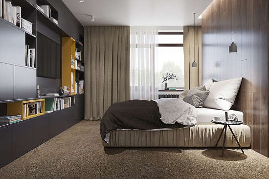 Minimalist bedroom design wooden interior