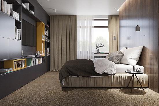 Minimalist bedroom design wooden interior