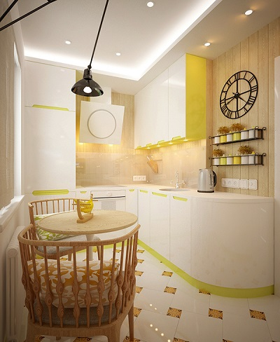 Minimalist design combining white and yellow