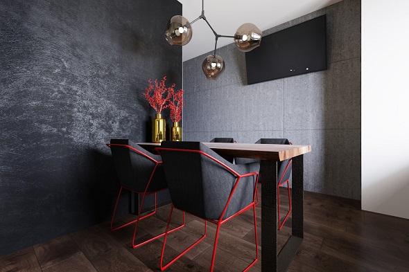 Minimalist kitchen design with wooden accent