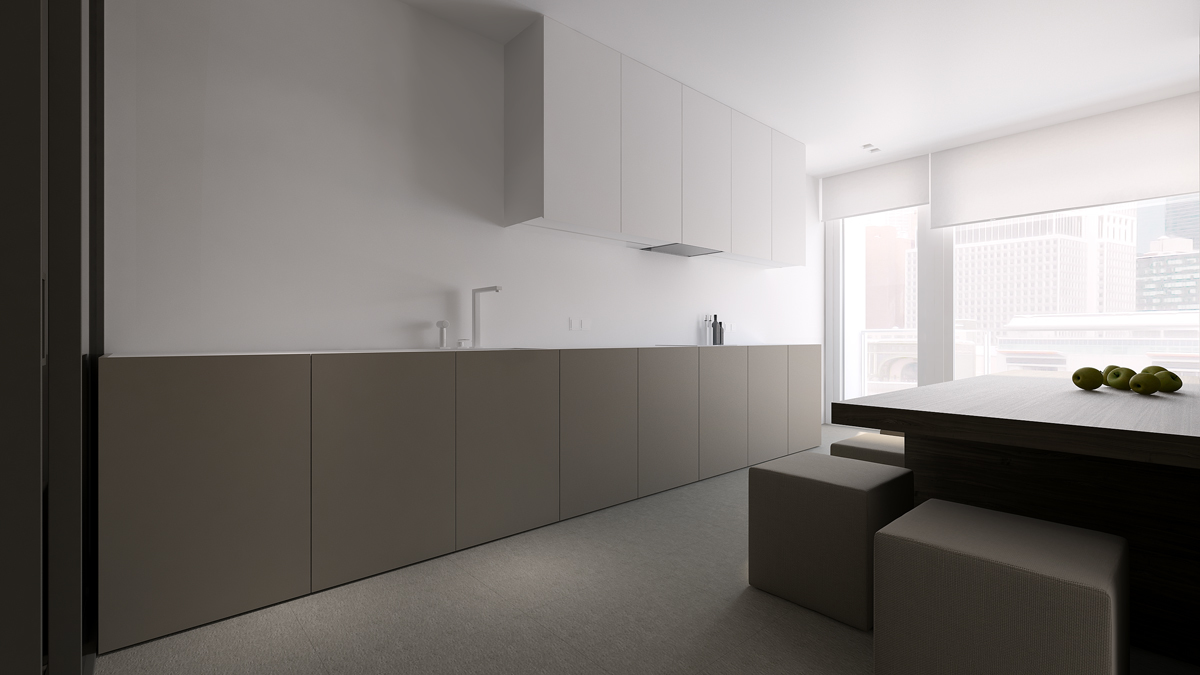 Gray apartment design with minimalist concept