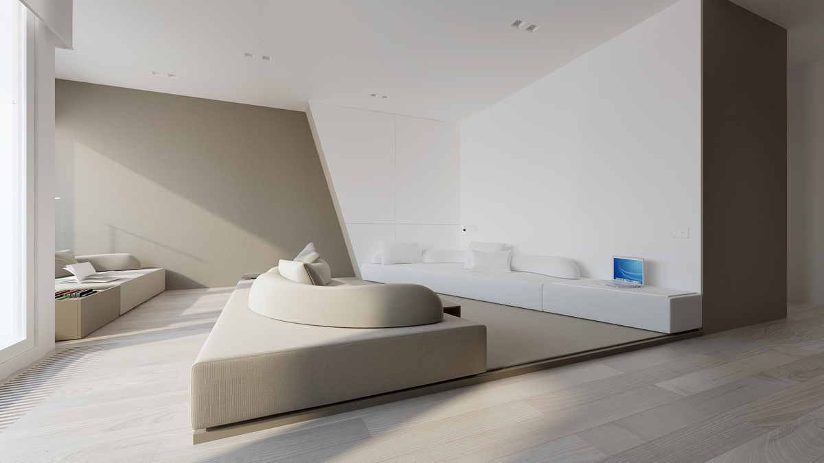 Minimalist interior with gray color paint