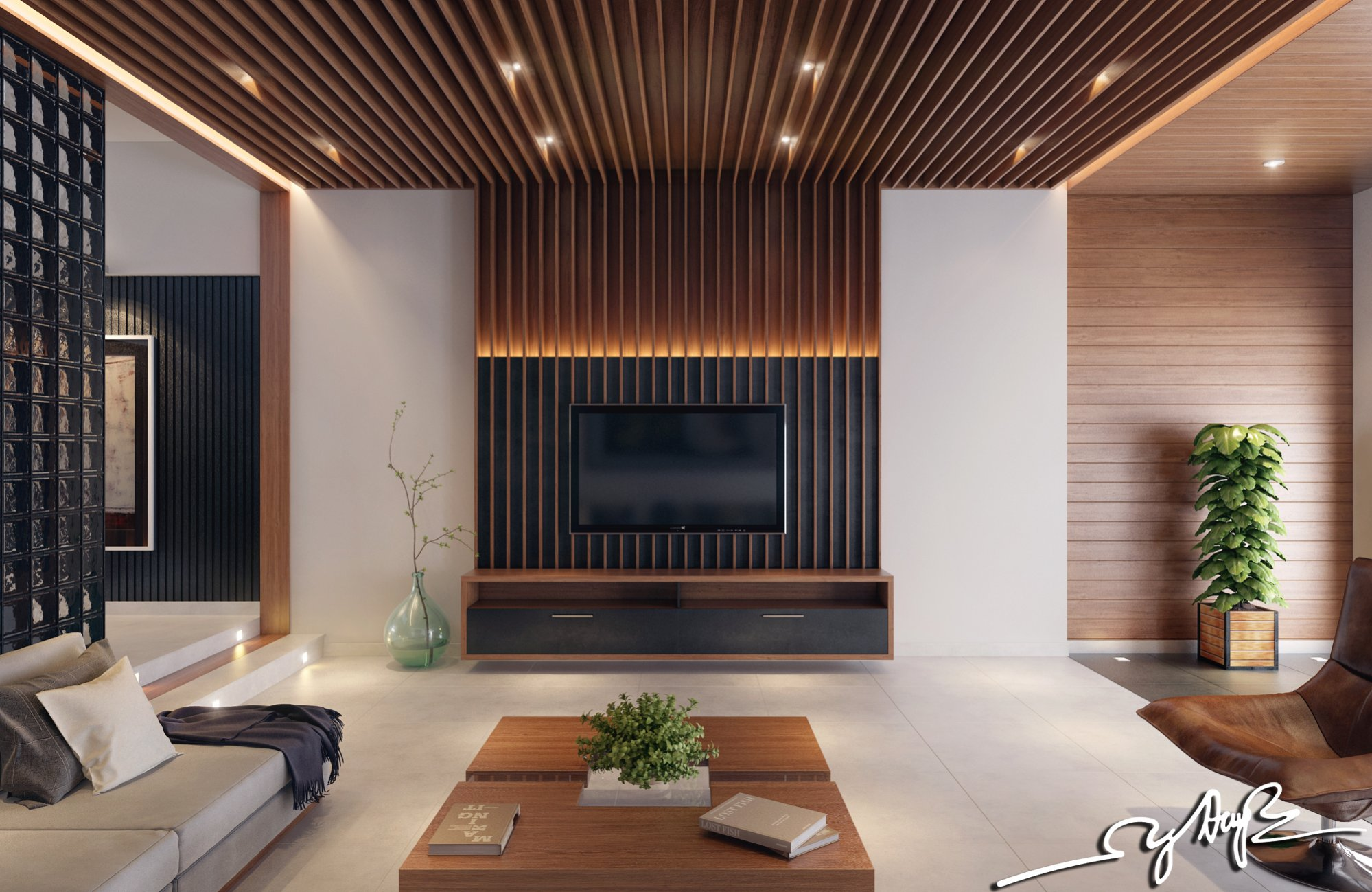 An open plan concept with wood interior design style